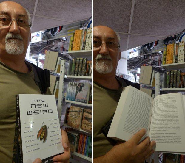 În librăria SF din Stockholm, în 2013, ținînd în mînă o carte apărută în SUA, în care este și un articol semnat de mine.
