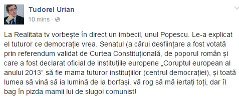 urian despre popescu pizdiceanu 8 iuni 2015